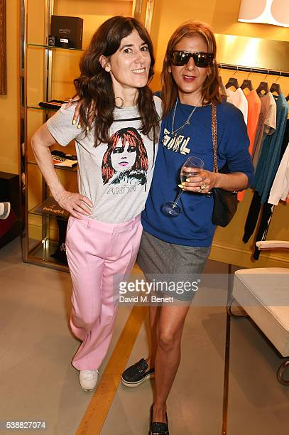 Bella Freud and Azzi Glasser attend the launch of Bella Freud's numbered edition collection of sunglasses with Cutler Gross at her Chiltern Street...