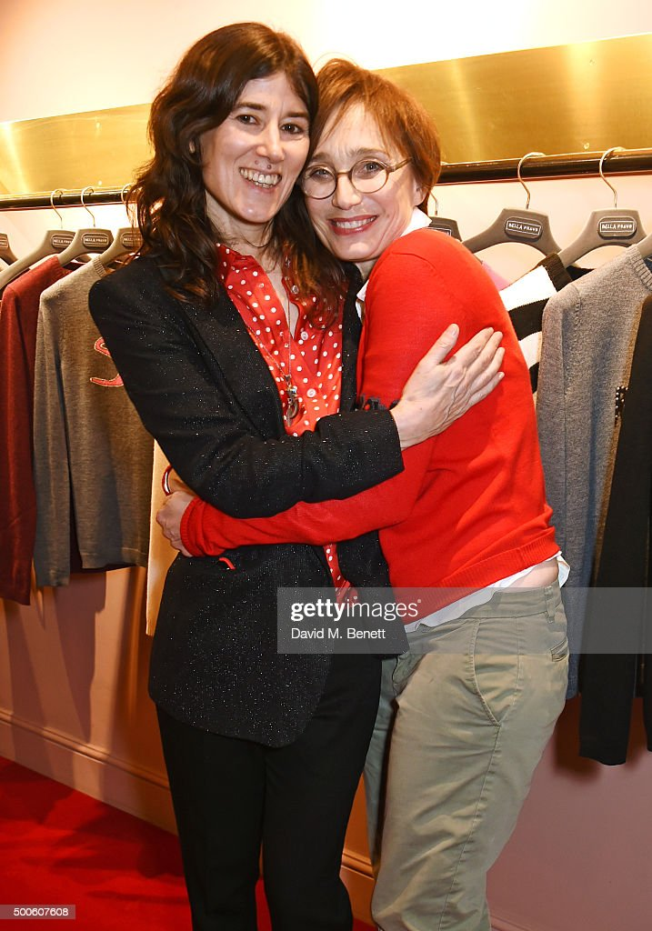 Bella Freud (L) and Kristin Scott Thomas attend the Bella Freud store launch in Marylebone on December 9, 2015 in London, England.