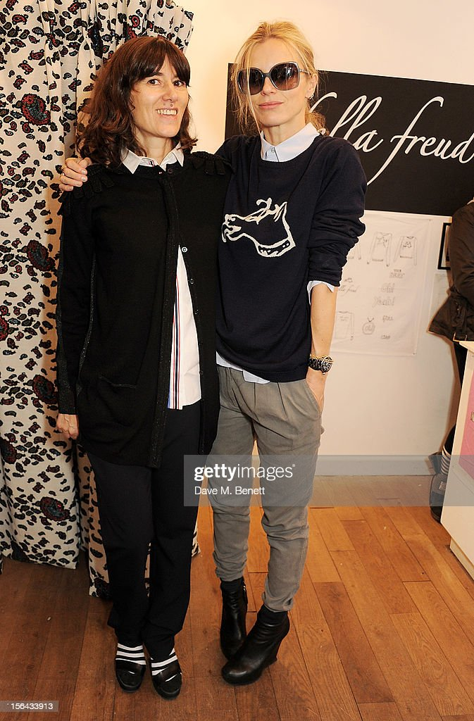 Bella Freud (L) and <a gi-track='captionPersonalityLinkClicked' href=/galleries/search?phrase=Laura+Bailey&family=editorial&specificpeople=202040 ng-click='$event.stopPropagation()'>Laura Bailey</a> attend the launch of the Bella Freud pop-up boutique at Bicester Village on November 15, 2012 in Bicester, England.