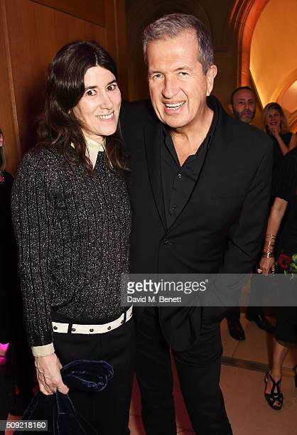 Bella Freud and Mario Testino attend a private view of 'Vogue 100 A Century of Style' hosted by Alexandra Shulman and Leon Max at the National...