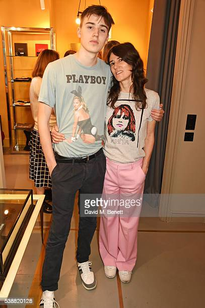 Bella Freud and son Jimmy attend the launch of Bella Freud's numbered edition collection of sunglasses with Cutler Gross at her Chiltern Street store...