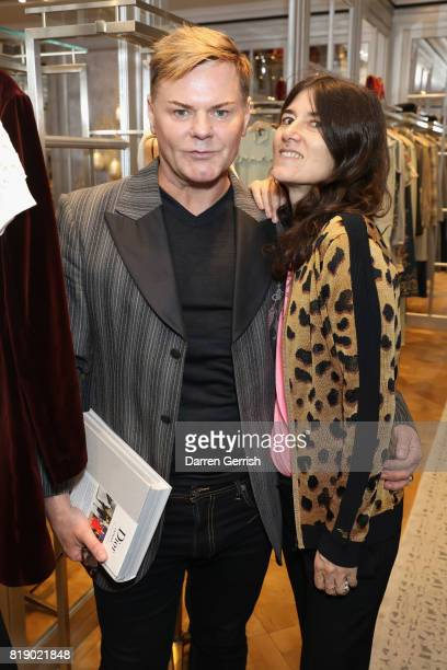 Bella Freud and Steven Phillip attend the Dior cocktail party to celebrate the launch of Dior Catwalk by Alexander Fury on July 19 2017 in London...