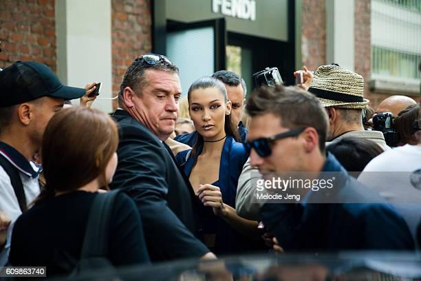 Bella Hadid after Fendi during Milan Fashion Week Spring/Summer 2017 on September 22 2016 in Milan Italy