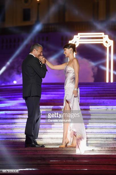 Bella Hadid and Bulgari CEO JeanChristophe Babin attend Goldea The Roman Night Cocktail Dinner on May 24 2017 in Rome Italy Photo by Venturelli/Getty...