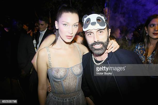 Bella Hadid and Giambattista Valli attend the Christian Dior Haute Couture Spring Summer 2017 Bal Masque as part of Paris Fashion Week on January 23...