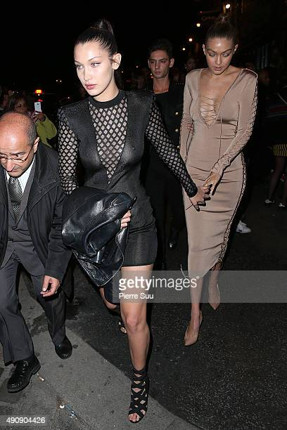 Bella Hadid and Gigi Hadid arrives at the Balmain After Show Party at 'Laperouse' restaurant as part of the Paris Fashion Week Womenswear...