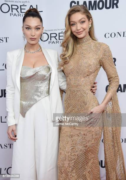 Bella Hadid and Gigi Hadid attend Glamour's 2017 Women of The Year Awards at Kings Theatre on November 13 2017 in Brooklyn New York