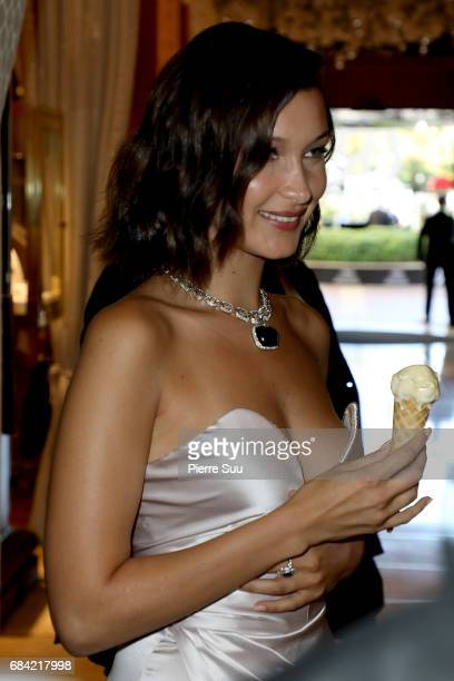 Bella Hadid and her father Mohamed are spotted eating an ice cream at the 'Majestic' hotel during the 70th annual Cannes Film Festival at on May 17...