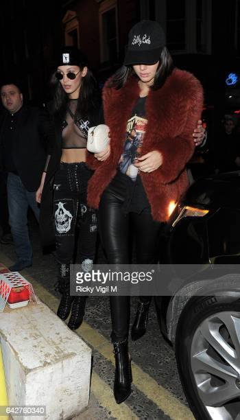 Bella Hadid and Kendall Jenner seen on a night out leaving Sexy Fish in Mayfair heading to the Box night club in Soho on February 18 2017 in London...