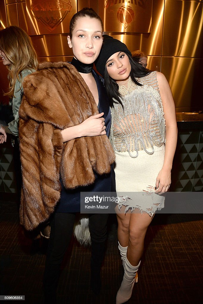 <a gi-track='captionPersonalityLinkClicked' href=/galleries/search?phrase=Bella+Hadid&family=editorial&specificpeople=7245032 ng-click='$event.stopPropagation()'>Bella Hadid</a> and <a gi-track='captionPersonalityLinkClicked' href=/galleries/search?phrase=Kylie+Jenner&family=editorial&specificpeople=870409 ng-click='$event.stopPropagation()'>Kylie Jenner</a> attend Kanye West Yeezy Season 3 at Madison Square Garden on February 11, 2016 in New York City.