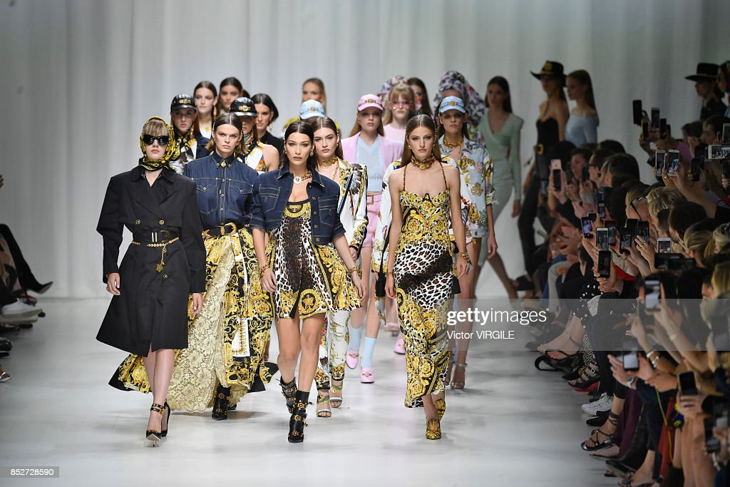 Bella Hadid and models walk the runway at the Versace Ready to Wear Spring/Summer 2018 fashion show during Milan Fashion Week Spring/Summer 2018 on September 22, 2017 in Milan, Italy.