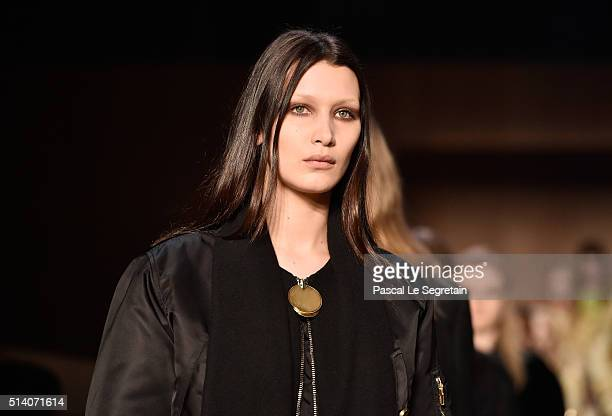 Bella Hadid and models walk the runway during the Givenchy show as part of the Paris Fashion Week Womenswear Fall/Winter 2016/2017 on March 6 2016 in...