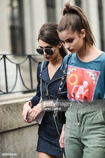 Bella Hadid and Taylor Hill are seen outside the Anna Sui show during New York Fashion Week Spring 2017 on September 14 2016 in New York City