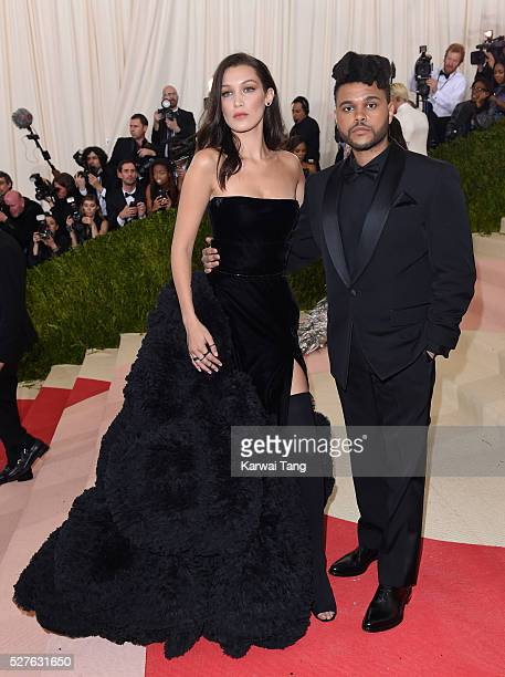 Bella Hadid and The Weeknd arrive for the 'Manus x Machina Fashion In An Age Of Technology' Costume Institute Gala at Metropolitan Museum of Art on...