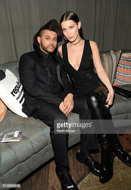 Bella Hadid and The Weeknd attend the Republic Records Grammy celebration at Hyde on Sunset on February 15 2016 in Los Angeles California