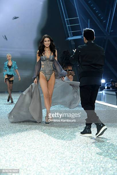 Bella Hadid and The Weeknd walks the runway during the 2016 Victoria's Secret Fashion Show on November 30 2016 in Paris France