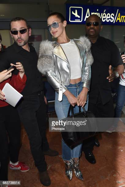 Bella Hadid arrives at Nice airport ahead of the 70th annual Cannes Film Festival at on May 16 2017 in Cannes France