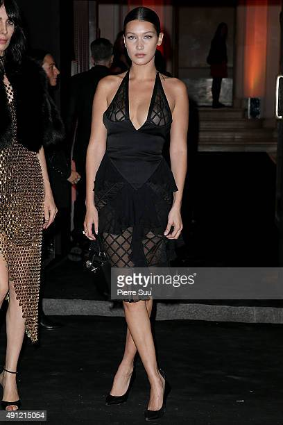Bella Hadid arrives at Vogue 95th Anniversary Party as part of the Paris Fashion Week Womenswear Spring/Summer 2016 on October 3 2015 in Paris France