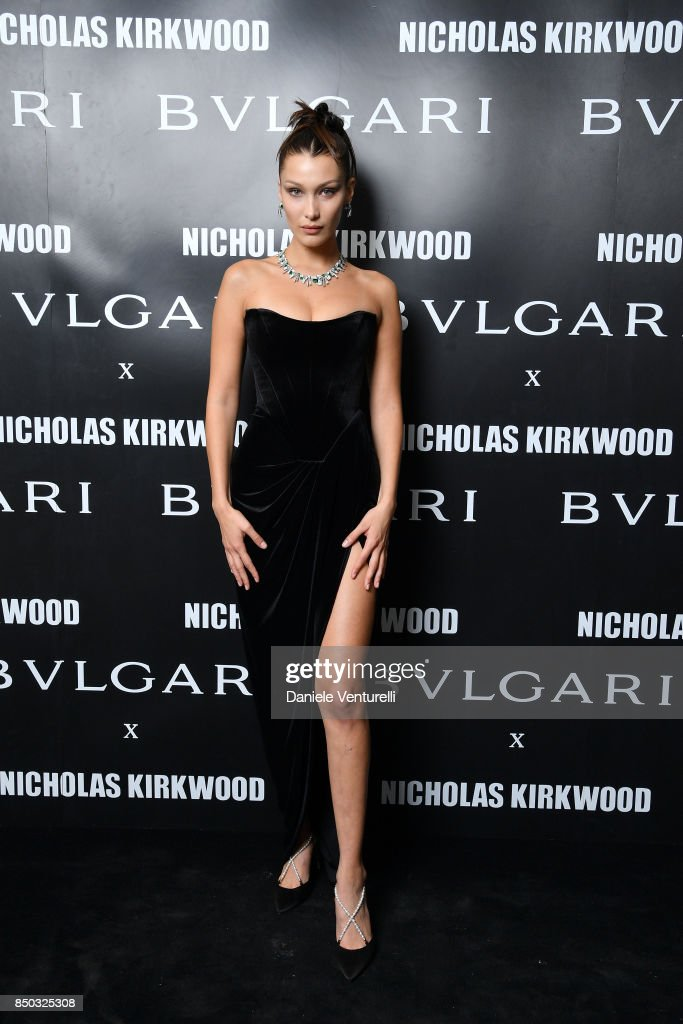 Bella Hadid attends a party celebrating 'Serpenti Forever' By Nicholas Kirkwood for Bvlgari on September 20, 2017 in Milan, Italy.