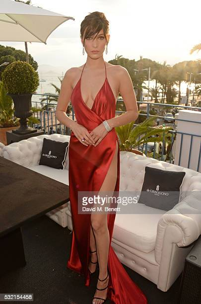 Bella Hadid attends a performance by Seal at the de Grisogono showroom Terrace 'Les Oliviers' during the 69th Cannes Film Festival at The Martinez...