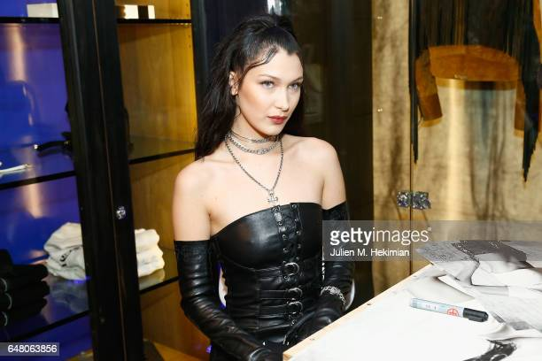 Bella Hadid attends Chrome Hearts X Bella Hadid Collaboration Launch as part of Paris Fashion Week at Chrome Hearts on March 4 2017 in Paris France