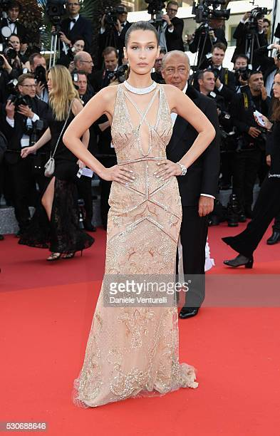 Bella Hadid attends the 'Cafe Society' premiere and the Opening Night Gala during the 69th annual Cannes Film Festival at the Palais des Festivals on...