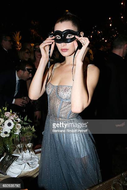 Bella Hadid attends the Christian Dior Haute Couture Spring Summer 2017 Bal Masque as part of Paris Fashion Week on January 23 2017 in Paris France