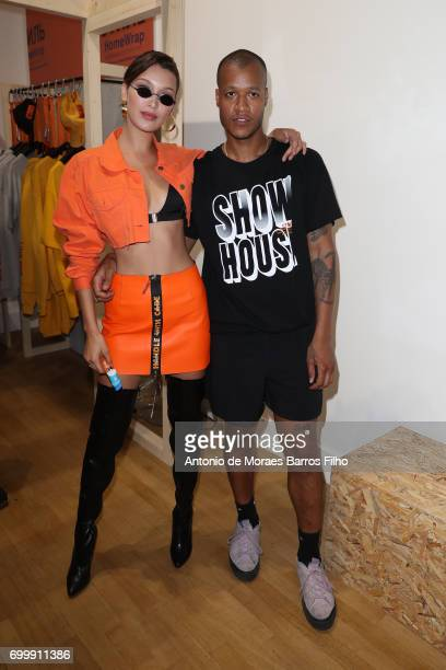 Bella Hadid attends the Heron Preston Presentation Man Menswear Spring/Summer 2018 show as part of Paris Fashion Week on June 22 2017 in Paris France