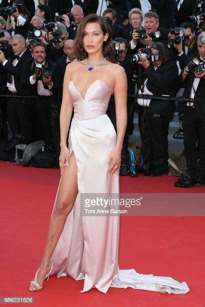 Bella Hadid attends the 'Ismael's Ghosts ' screening and Opening Gala during the 70th annual Cannes Film Festival at Palais des Festivals on May 17...