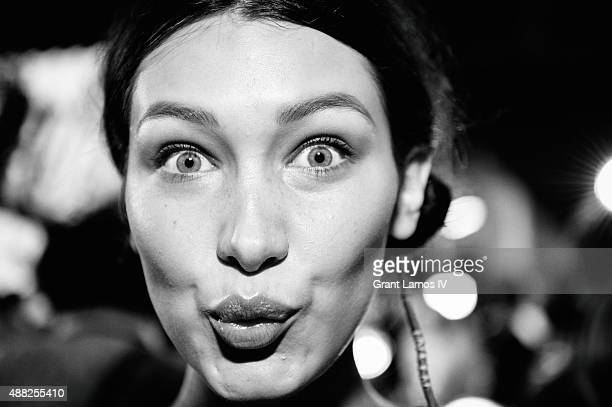 Bella Hadid backstage at the Tommy Hilfiger Women's show during Spring 2016 New York Fashion Week at Pier 36 on September 14 2015 in New York City