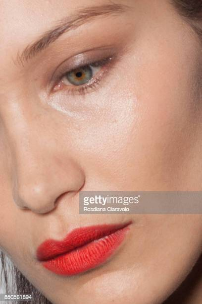 Bella Hadid detail is seen ahead of backstage the Max Mara show during Milan Fashion Week Spring/Summer 2018 on September 21 2017 in Milan Italy