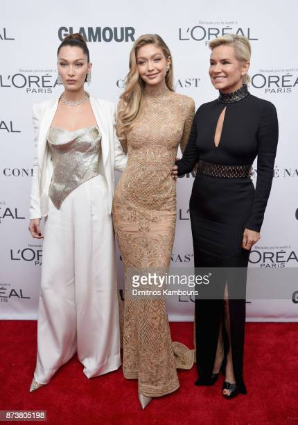 Bella Hadid Gigi Hadid and Yolanda Foster attend Glamour's 2017 Women of The Year Awards at Kings Theatre on November 13 2017 in Brooklyn New York