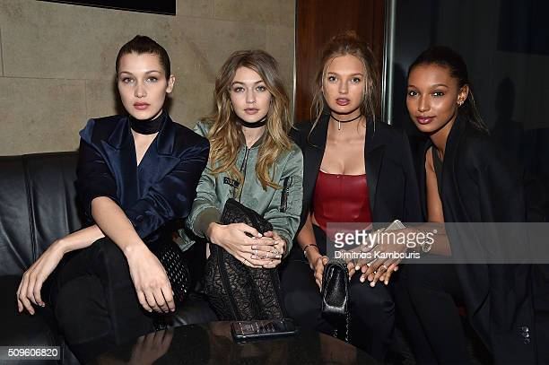 Bella Hadid Gigi Hadid Romee Strijd and Jasmine Tookes attend Kanye West Yeezy Season 3 on February 11 2016 in New York City