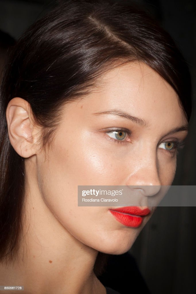Bella Hadid is seen ahead of backstage the Max Mara show during Milan Fashion Week Spring/Summer 2018 on September 21, 2017 in Milan, Italy.