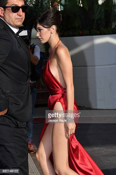 Bella Hadid is seen at Hotel Martinez during the annual 69th Cannes Film Festival at on May 18 2016 in Cannes France