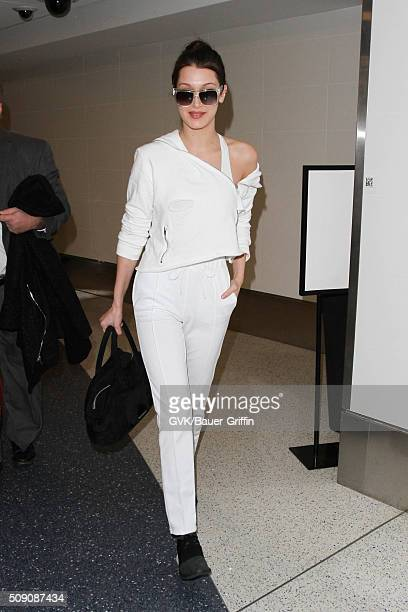 Bella Hadid is seen at LAX on February 08 2016 in Los Angeles California
