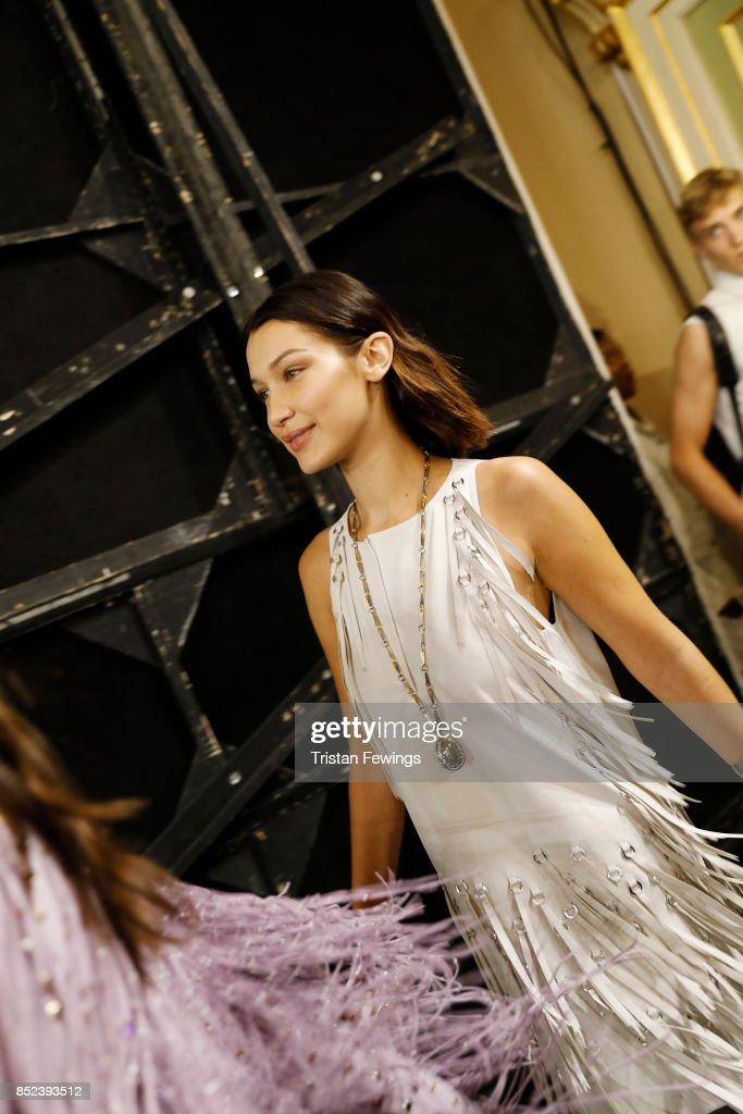 Bella Hadid is seen backstage ahead of the Bottega Veneta show during Milan Fashion Week Spring/Summer 2018 on September 23, 2017 in Milan, Italy.