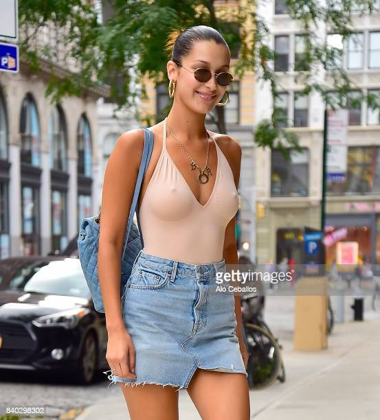 Bella Hadid is seen in Noho on August 28 2017 in New York City