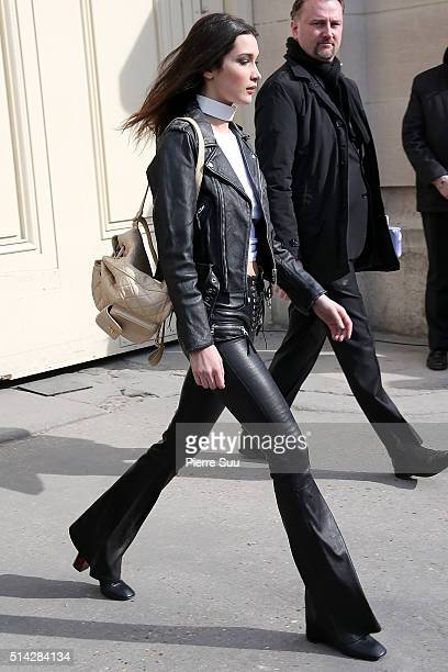 Bella Hadid is sighted as she leaves the Chanel show as part of the Paris Fashion Week Womenswear Fall/Winter 2016/2017 on March 8 2016 in Paris...