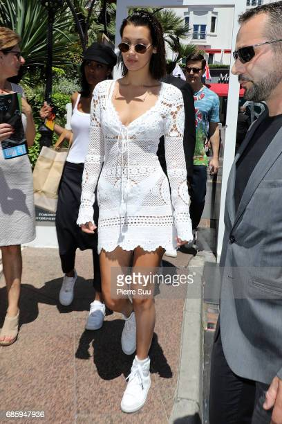 Bella Hadid is spotted outside the Majestic hotel during the 70th annual Cannes Film Festival at on May 20 2017 in Cannes France