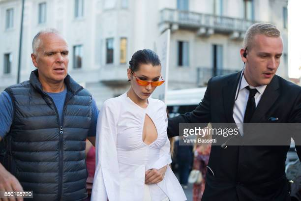 Bella Hadid leaves after the Alberta Ferretti show during Milan Fashion Week Spring/Summer 2018 on September 20 2017 in Milan Italy