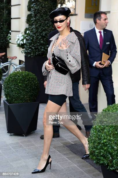 Bella Hadid leaves her hotel on September 27 2017 in Paris France