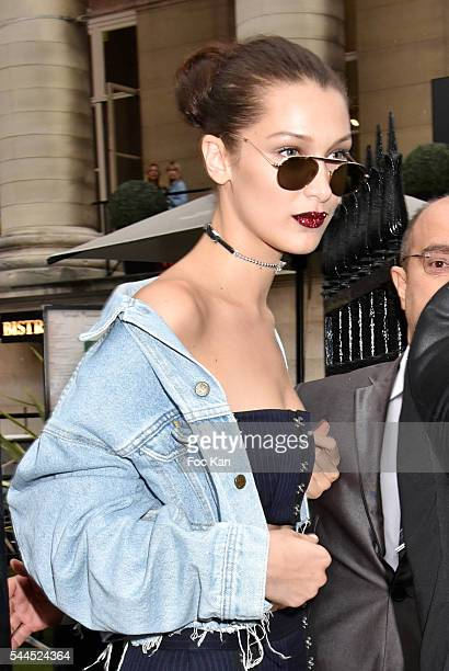 Bella Hadid leaves the Atelier Versace Haute Couture Fall/Winter 20162017 show as part of Paris Fashion Week on July 3 2016 in Paris France