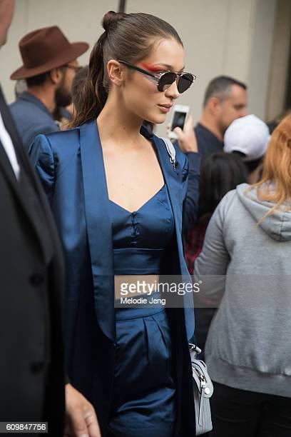 Bella Hadid outside the Max Mara show during Milan Fashion Week Spring/Summer 2017 on September 22 2016 in Milan Italy