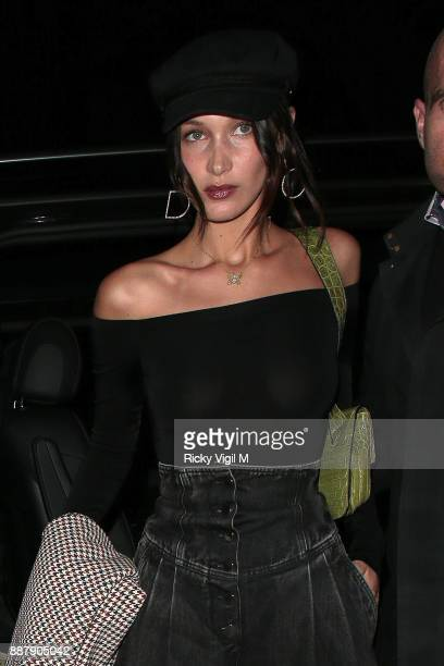 Bella Hadid returns to her hotel in London after night out at China Tang on December 7 2017 in London England