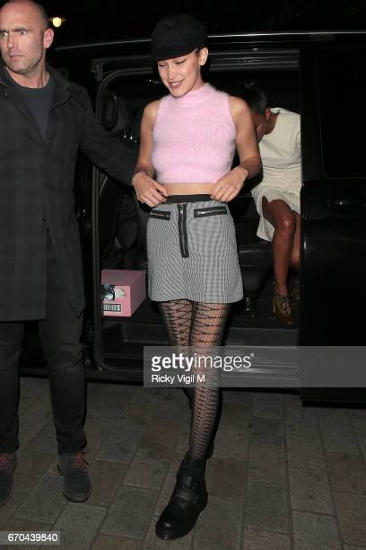 Bella Hadid seen leaving Sexy Fish restaurant in Mayfair on April 19 2017 in London England