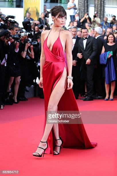 Bella Hadid sister of Gigi Hadid attends 'The Unknown Girl ' Premiere during the 69th annual Cannes Film Festival at the Palais des Festivals on May...