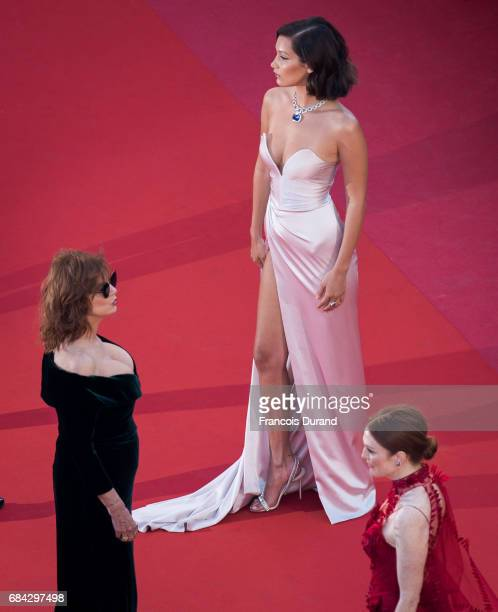 Bella Hadid Susan Sarandon and Julianne Moore attend the 'Ismael's Ghosts ' screening and Opening Gala during the 70th annual Cannes Film Festival at...