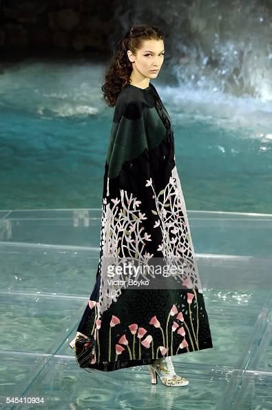 Bella Hadid walks the runway at Fendi Roma 90 Years Anniversary fashion show at Fontana di Trevi on July 7 2016 in Rome Italy
