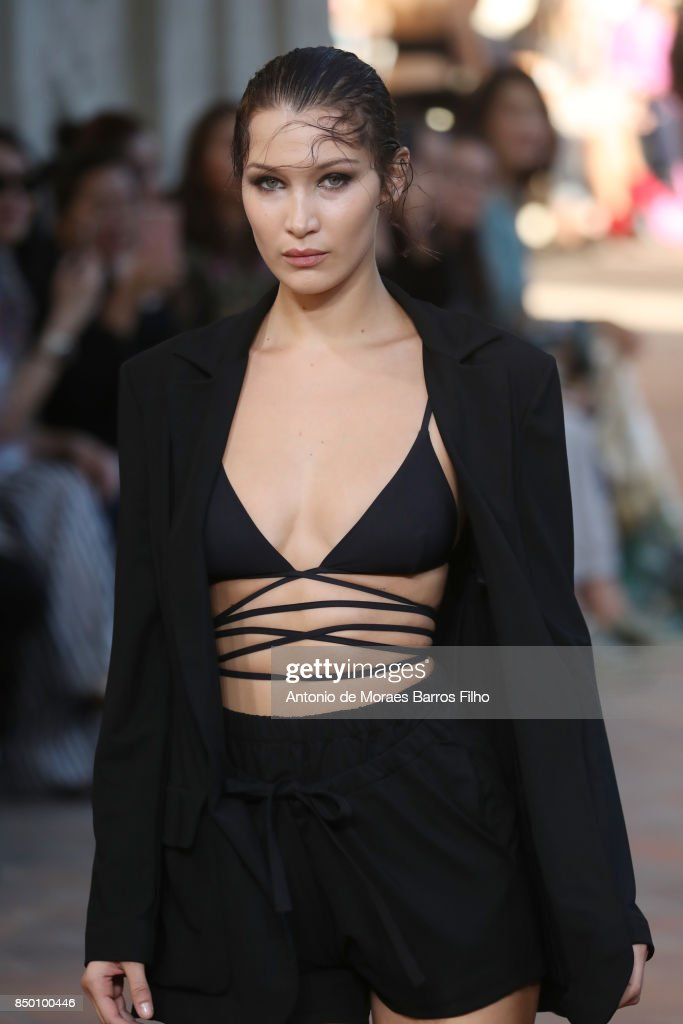 Bella Hadid walks the runway at the Alberta Ferretti show during Milan Fashion Week Spring/Summer 2018 on September 20, 2017 in Milan, Italy.